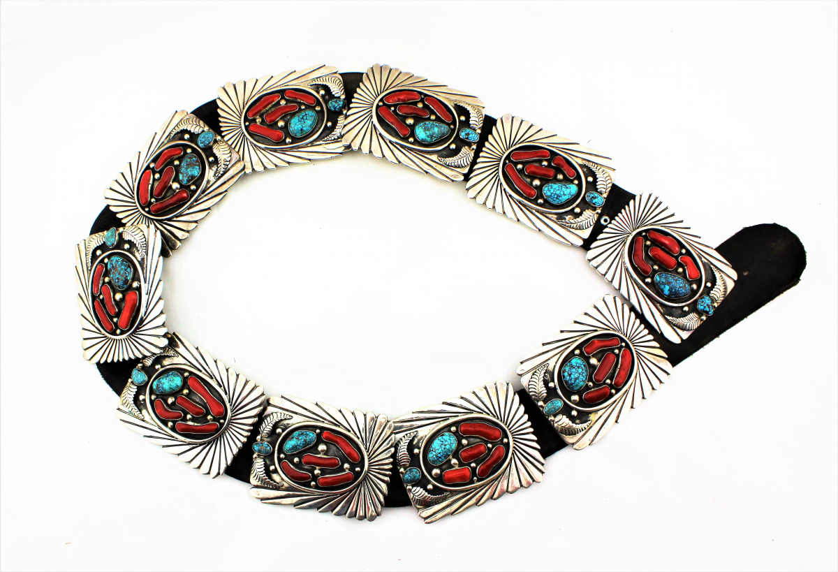1970s Sterling Silver, Coral and Turquoise Concho Belt