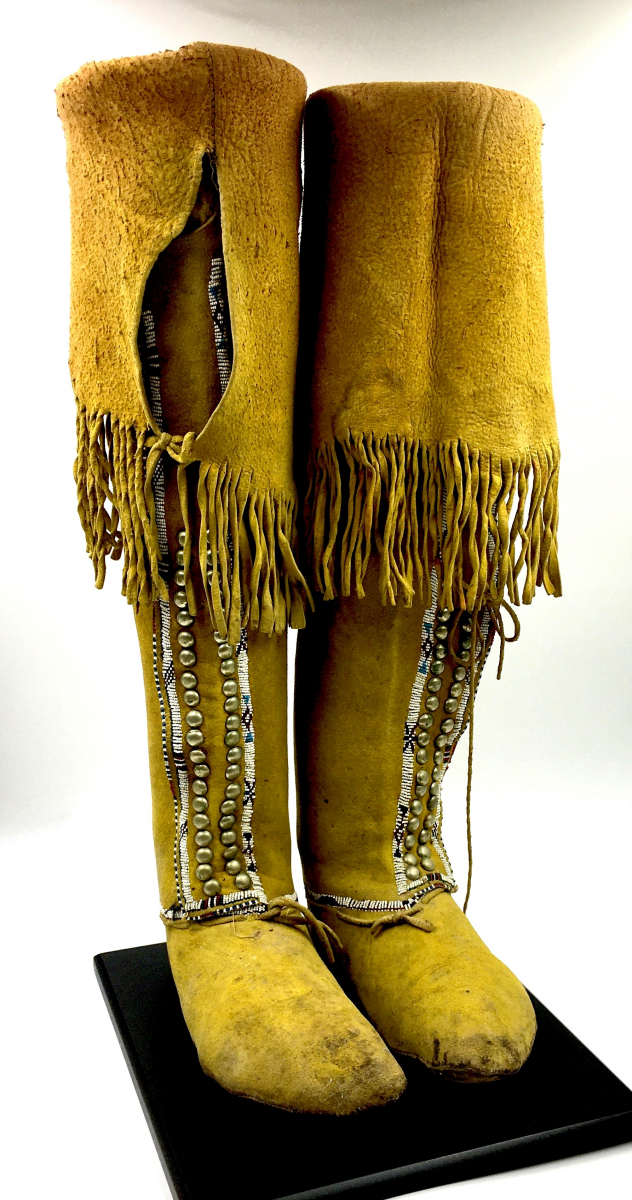 circa 1865-75 Southern Plains high top boot style moccasins