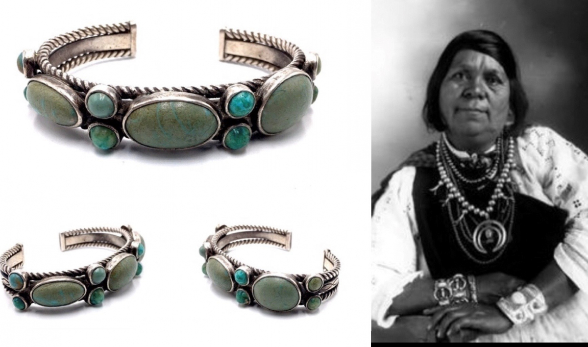 circa 1930's Navajo cuff from the collection of Isleta Potter Marie Chiwiwi