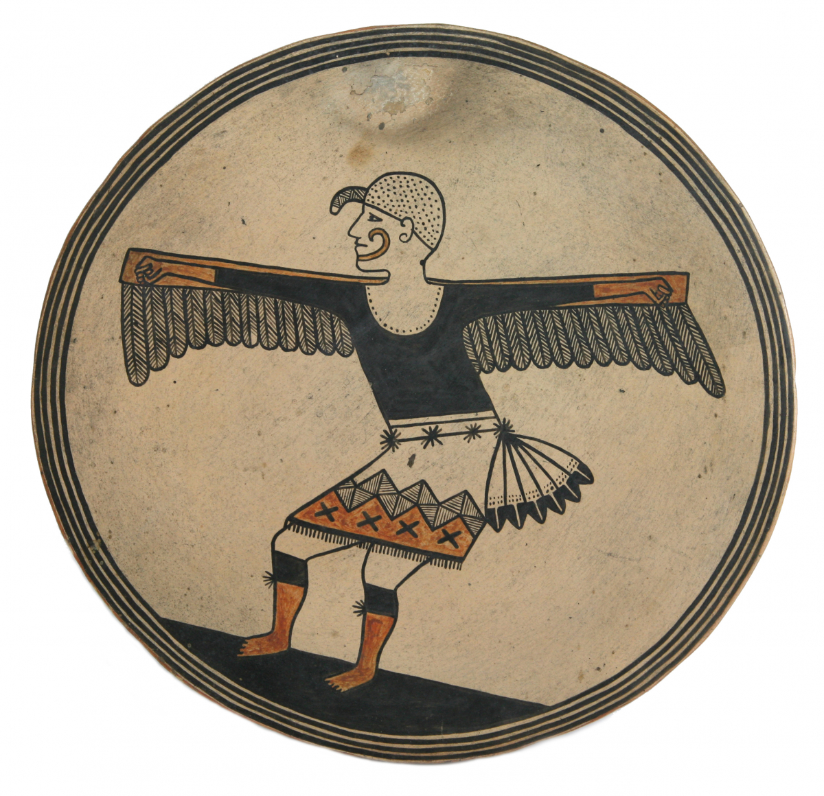 San Ildefonso Polychrome Pictorial Tile with Eagle Dancer, c. 1920