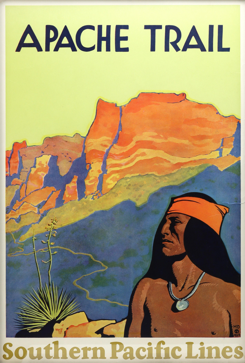 Original Maynard Dixon poster for Apache Trail - Southern Pacific Lines