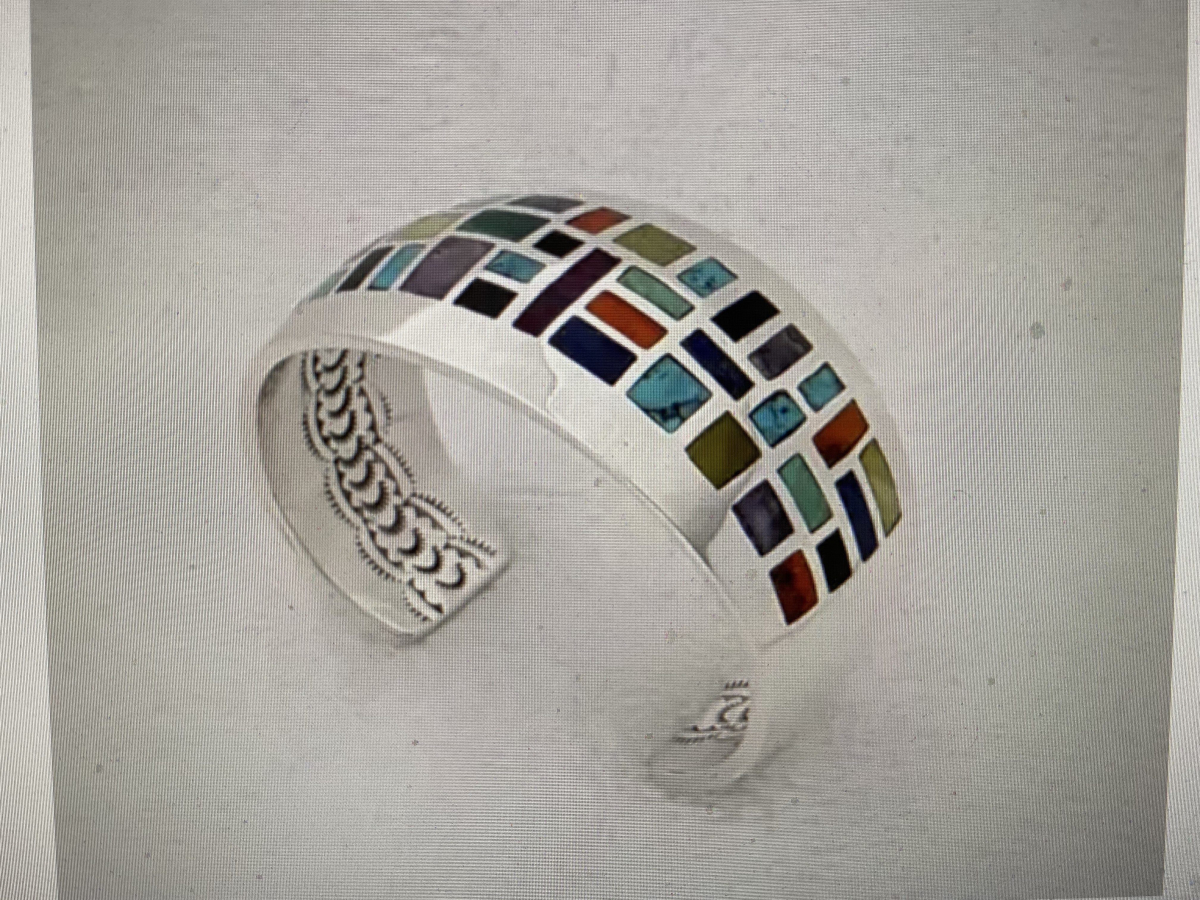 Stained Glass Cuff featuring Multi-Stone Inlay and Underneath Stampwork