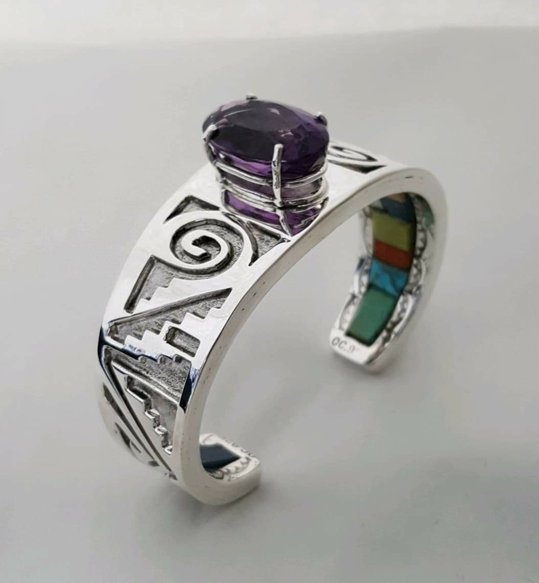 Unique Ancient & Contemporary Bracelet with Amethyst Gemstone, Overlay, Stampwork and Underneath Inlay