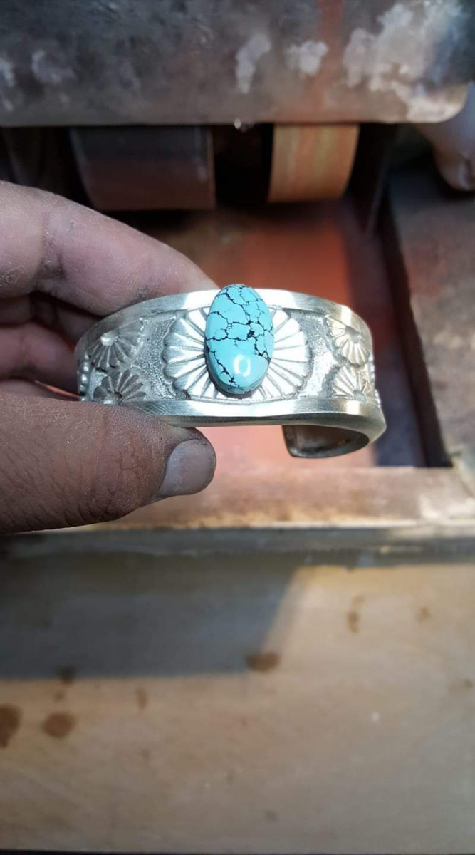 Turquoise Center Stone Overlay Bracelet with Underneath Inlay