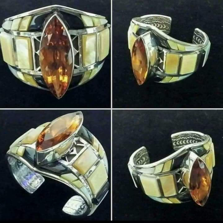 Center Stone of Citrine with Inlay and Underneath Stampwork