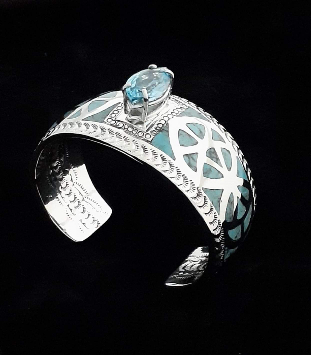 Blue Topaz Center Stone and Turquoise Inlay with Stampwork Inside and Out