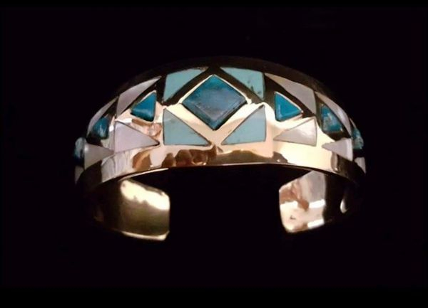 Turquoise and Mother of Pearl Inlay Bracelet in Sterling Silver or Red Brass/Goldtone