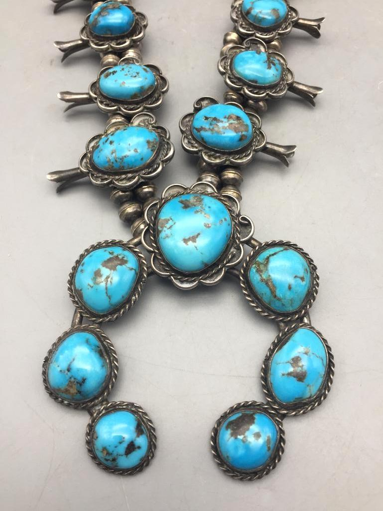 Vintage Sterling Silver and Turquoise Squash Blossom Necklace - Lot 5 in the November 14th Auction | Western Trading Post