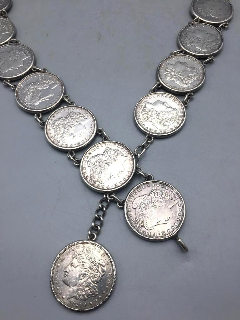 Unique Silver Dollar Concho Belt - Lot 35 in the November 14th Auction | Western Trading Post