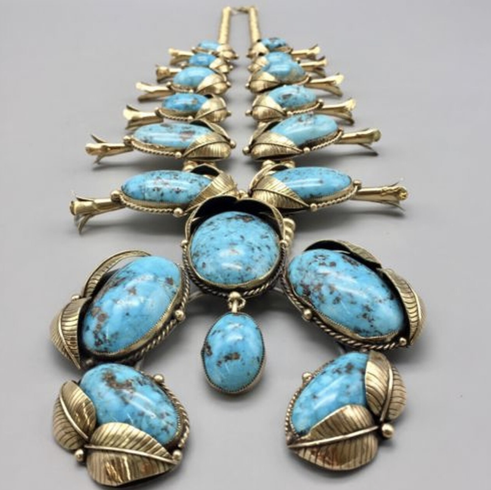 WOW!! 14k Gold Squash Blossom Necklace with Natural Persian Turquoise!!!