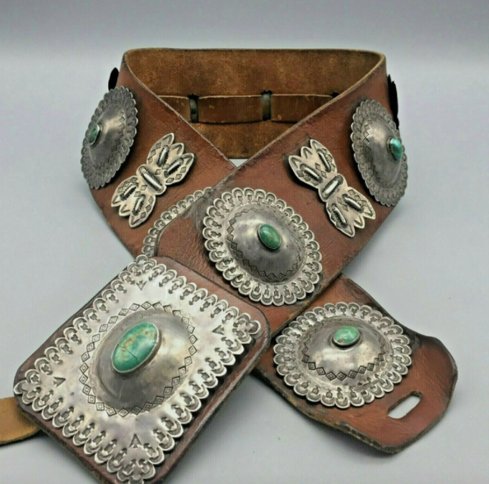 STATEMENT PIECE! A Large Older Concho Belt With Natural Green Turquoise