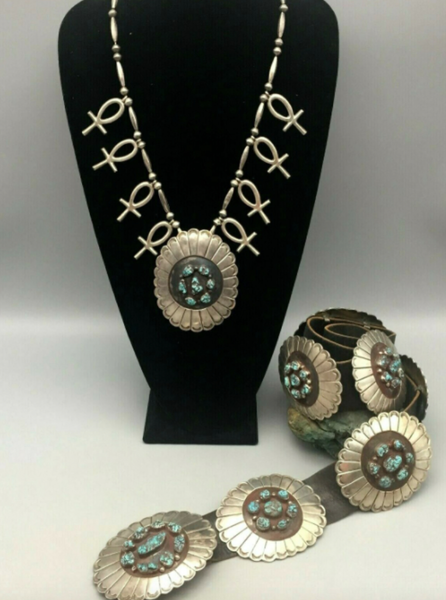 Stunning Lone Mountain Turquoise Concho Belt and Necklace