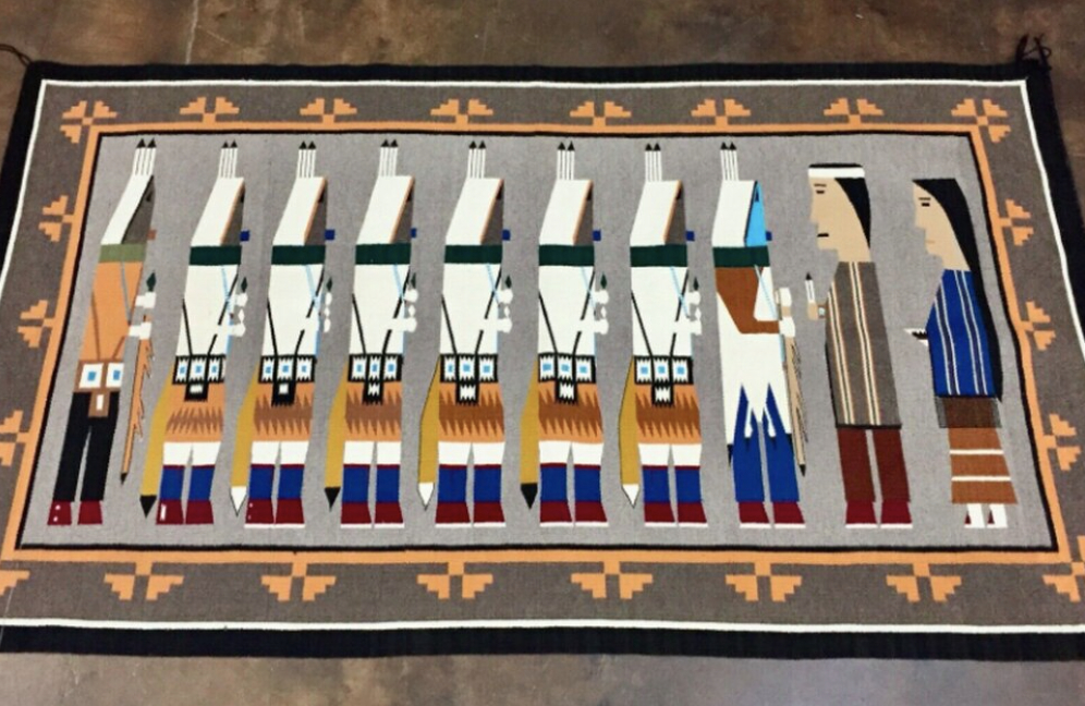 A Uniquely Styled and Finely Woven Larger Size Navajo Pictorial Textile - Rug
