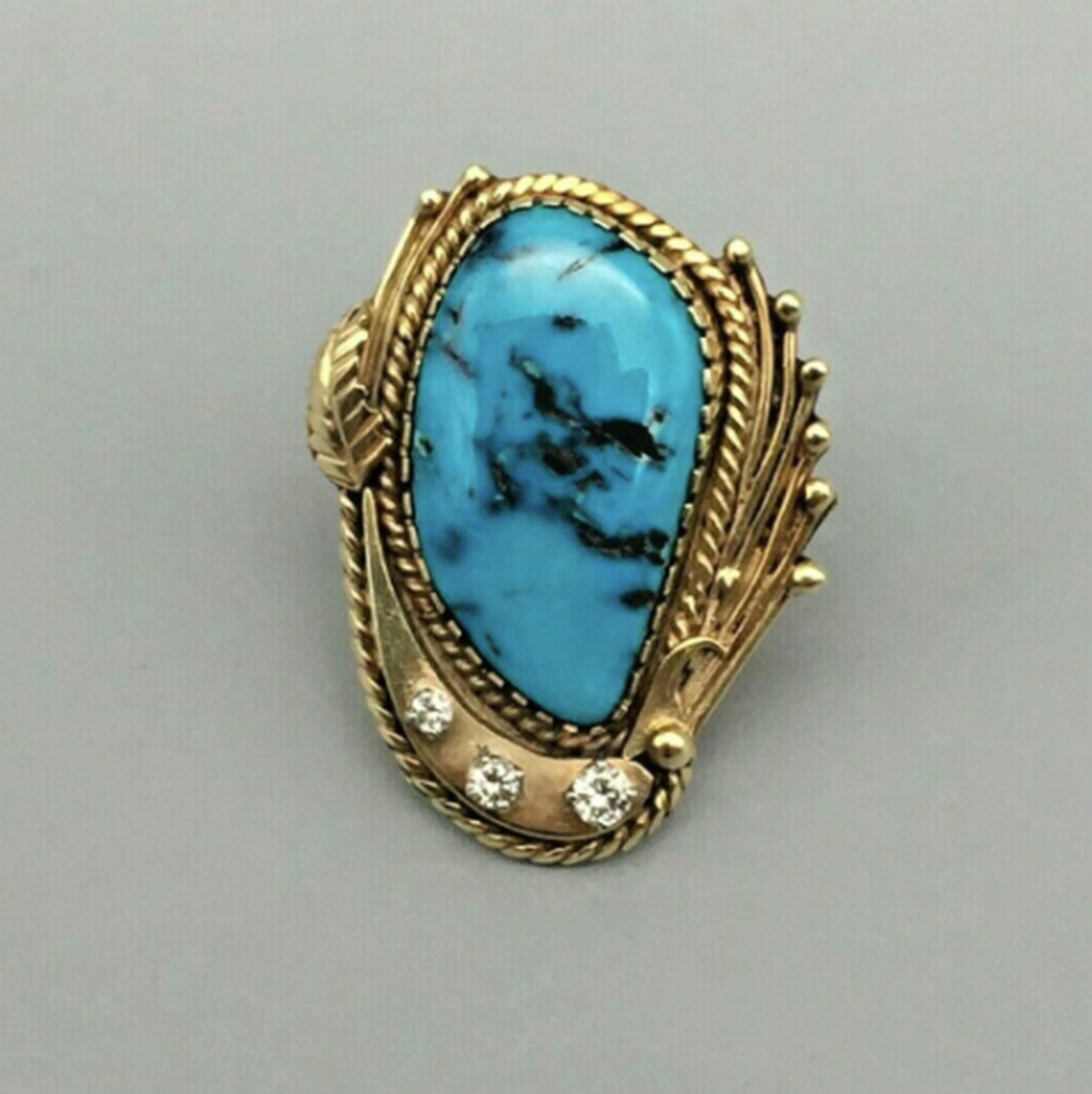 Brilliant 14k Gold, Turquoise, and Diamond Ring by Carlos White Eagle -Size 6.5