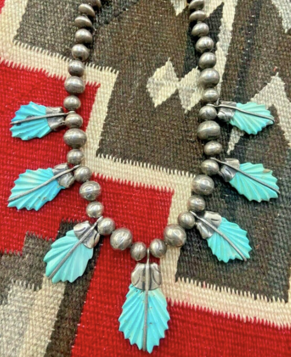 RARE! A Carved Turquoise Necklace Attributed to Leekya Deyuse