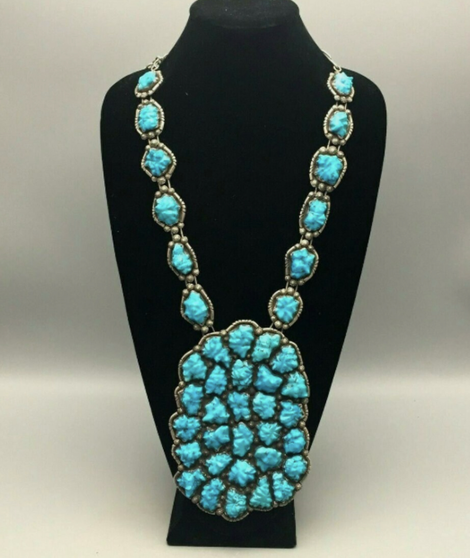 STATEMENT! A Stunning Carved Turquoise Necklace by Robert and Bernice Leekya
