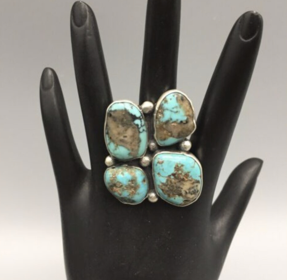 NEW! Beautiful, Cluster Style Turquoise & Silver Ring by Nick Jackson - Size 8