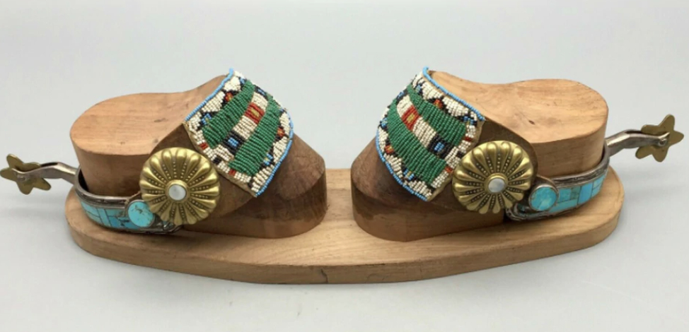 Turquoise and Sterling Silver Inlay Spurs with Beaded Spur Straps